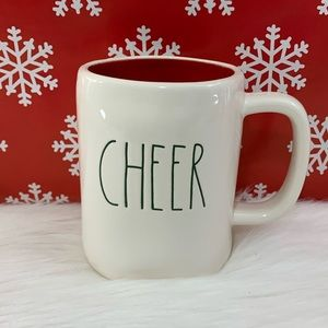 ⭐️2/25 Rae Dunn Cheer Mug Red Inside Green Letters